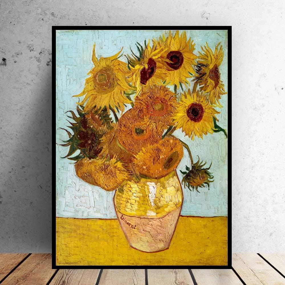 DIY Pintura Digital Art Van Gogh Florero Girasoles Cuadro impresionista Pintura al óleo sobre Lienzo Arte de la Pared para Sala de Estar Decoración del hogar 40x50cm Sin Marco