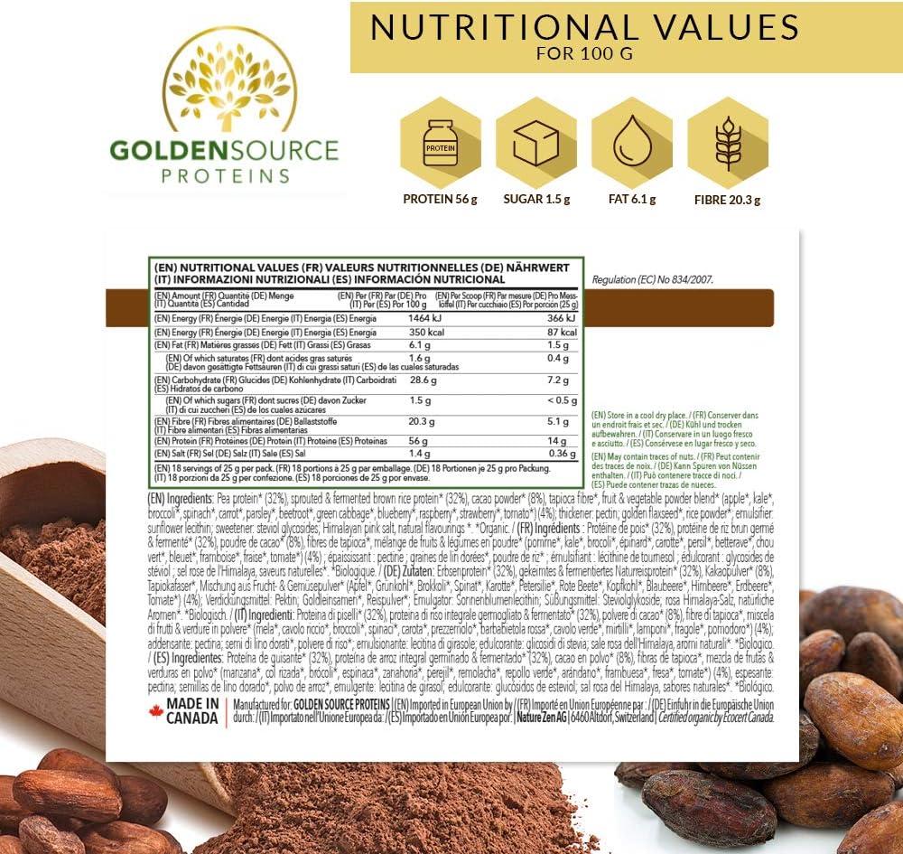Golden Source Proteins Proteínas Vegetales Biológicas, Cacao ...
