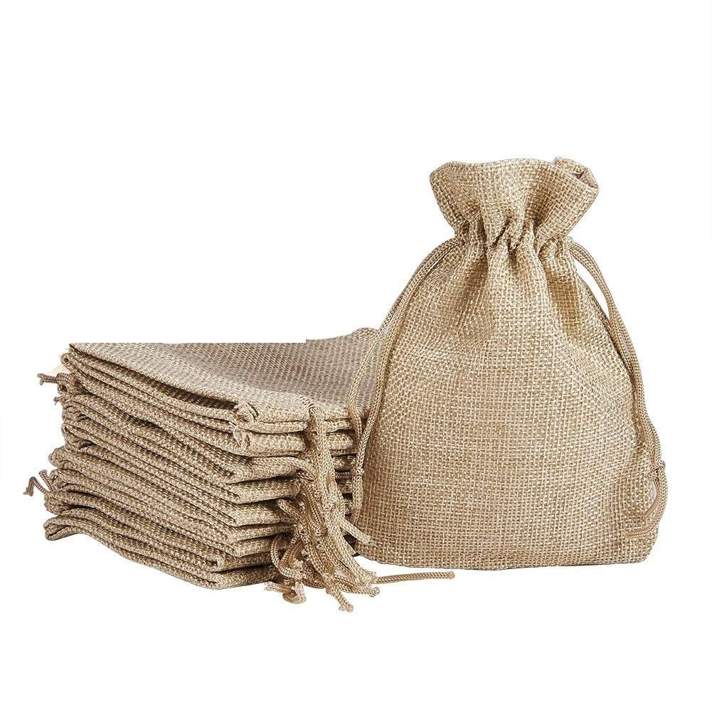 LifeKrafts Jute linen Potlis,Diwali Gift Pouches | Gift Bags for Return Gifts Bags| Jute Linen,Burlap | Natural Jute Color| For Weddings , Functions, Parties, Baby Showers, Birthdays, Festivals or Any Occasion product image