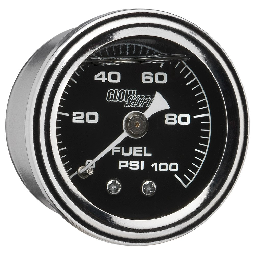 GlowShift Liquid Filled Mechanical 100 PSI Fuel Pressure Gauge - Black Dial - Waterproof - Installs Under the Hood - 1/8-27 NPT Thread - 1-1/2 (38mm) Diameter
