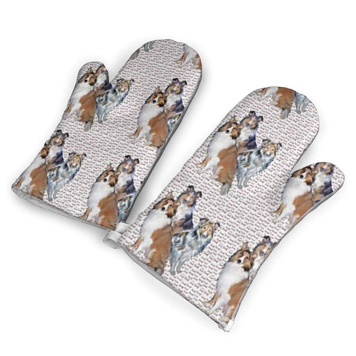 WWOC Shelties and Bones Oven Mitts, Premium Heat Resistant Kitchen& Polyester Quilted Oversized Mittens, 1 Pair
