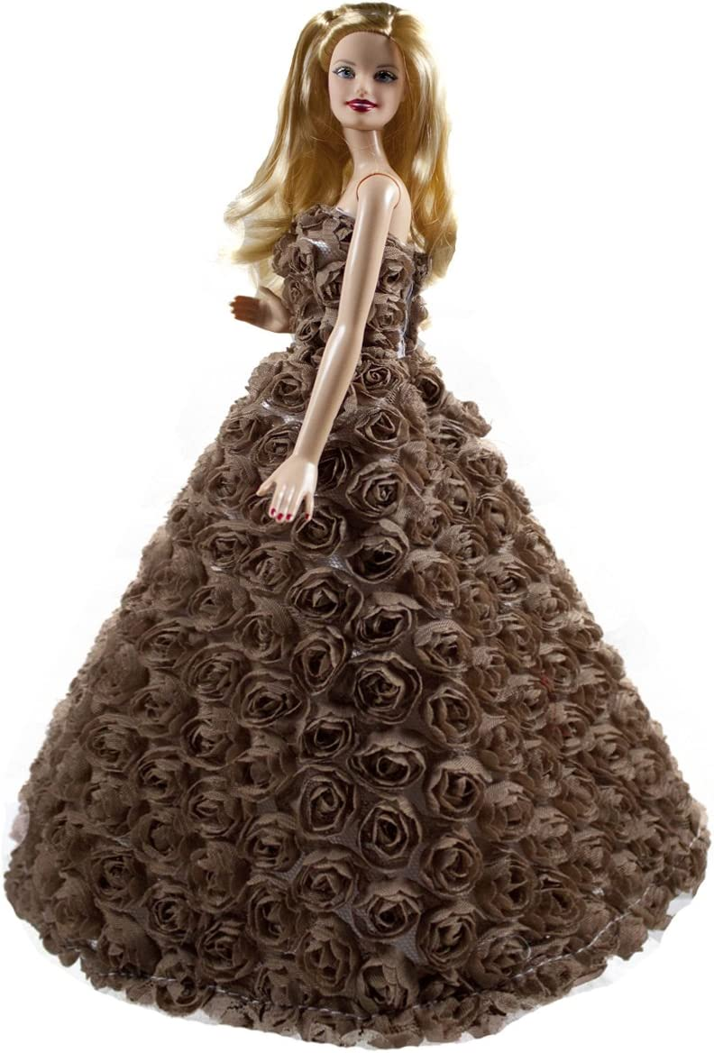Luckakuck Brown Sweetheart Floral Gown Covered with Roses for 11.5 inches Dolls