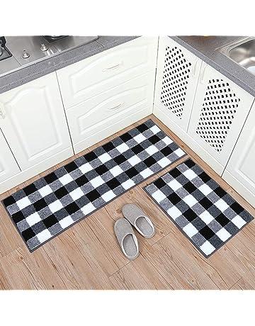 2-PACK Kitchen Mat Set 18x32+18x60 Hihome Non-slip Imitation Linen Kitchen Rug Doormat Bedroom Area Rug Floor Mats set of 2