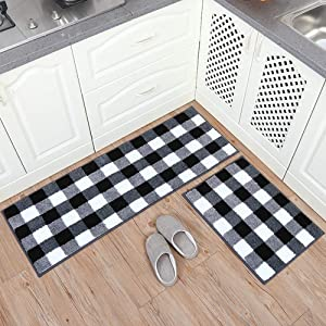 """Carvapet 2 Pieces Buffalo Plaid Check Rug Set Water Absorb Microfiber Non-Slip Kitchen Rug Bathroom Mat Checkered Doormat Carpet for Laundry 17""""x48""""+17""""x24"""", Black and White"""