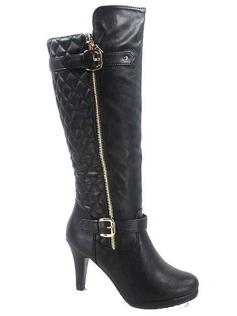 8e8b9d0a63b Top Moda FZ-Win-6 Women s Fashion Quilted Buckle Low Heel Zipper Knee High