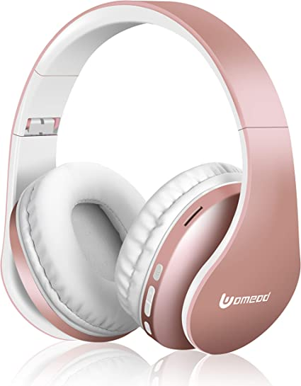 MKay Bluetooth Headphones Wireless Support Tf Card MP3 Mode and Fm Radio for Cellphones Laptop TV-Rose Gold Over Ear Headset V5.0 with Microphone Foldable /& Lightweight