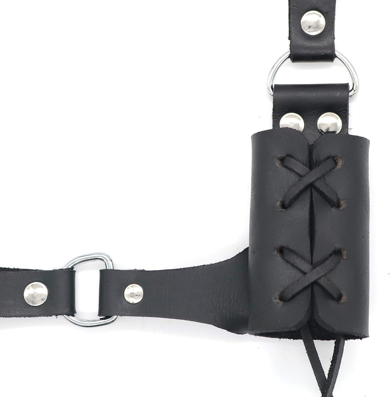 Mythrojan Handmade Leather Sword Frog for Right Hand Black