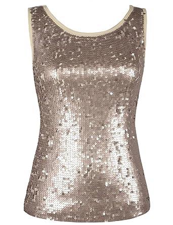 7682604b6201bd PrettyGuide Damen Pailletten Tank Top Glitter Ärmellos Vest Top Champagner  S/EU32-34