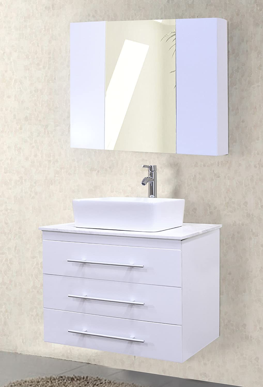 Amazon.com: Design Element Portland Wall Mount Single Vessel Square Ceramic  Sink Vanity Set With Carrara White Marble Countertop And White Finish, ...