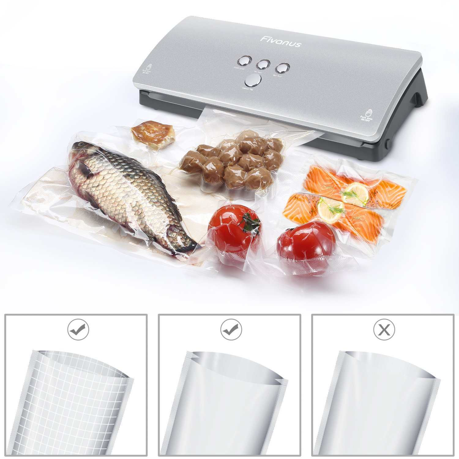 Fivanus Compact Automatic Vacuum Sealer Sealing System with Food Savers Starter Bags - Silver- Buy One Get 2 Pack Food Sealers Rolls