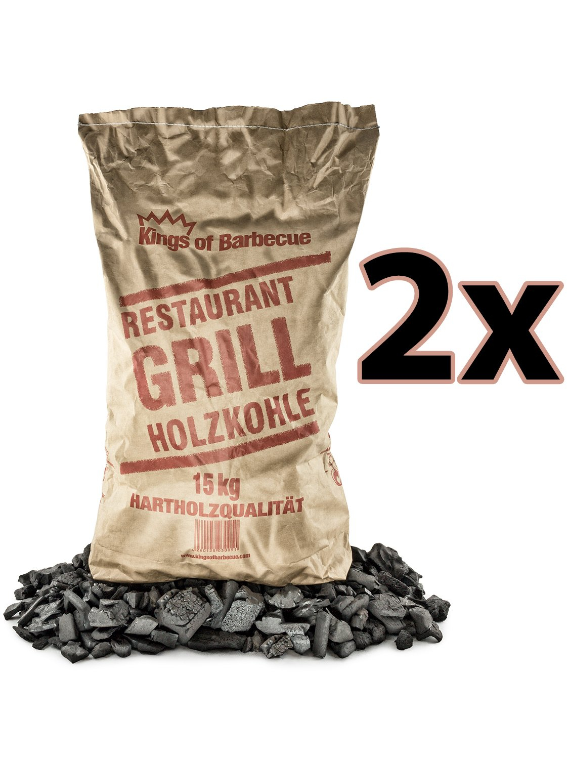 Kings of Barbecue Premium Quebracho Holzkohle Grillkohle 2x 15Kg