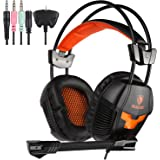 Sades 921S 3.5mm plug Over Ear Wired Stereo Headset Gaming Earphone Bass Noise Canceling Isolating Headphones with Mic for PC Gamer Tablet Laptops Mobile Phone MP3 MP4