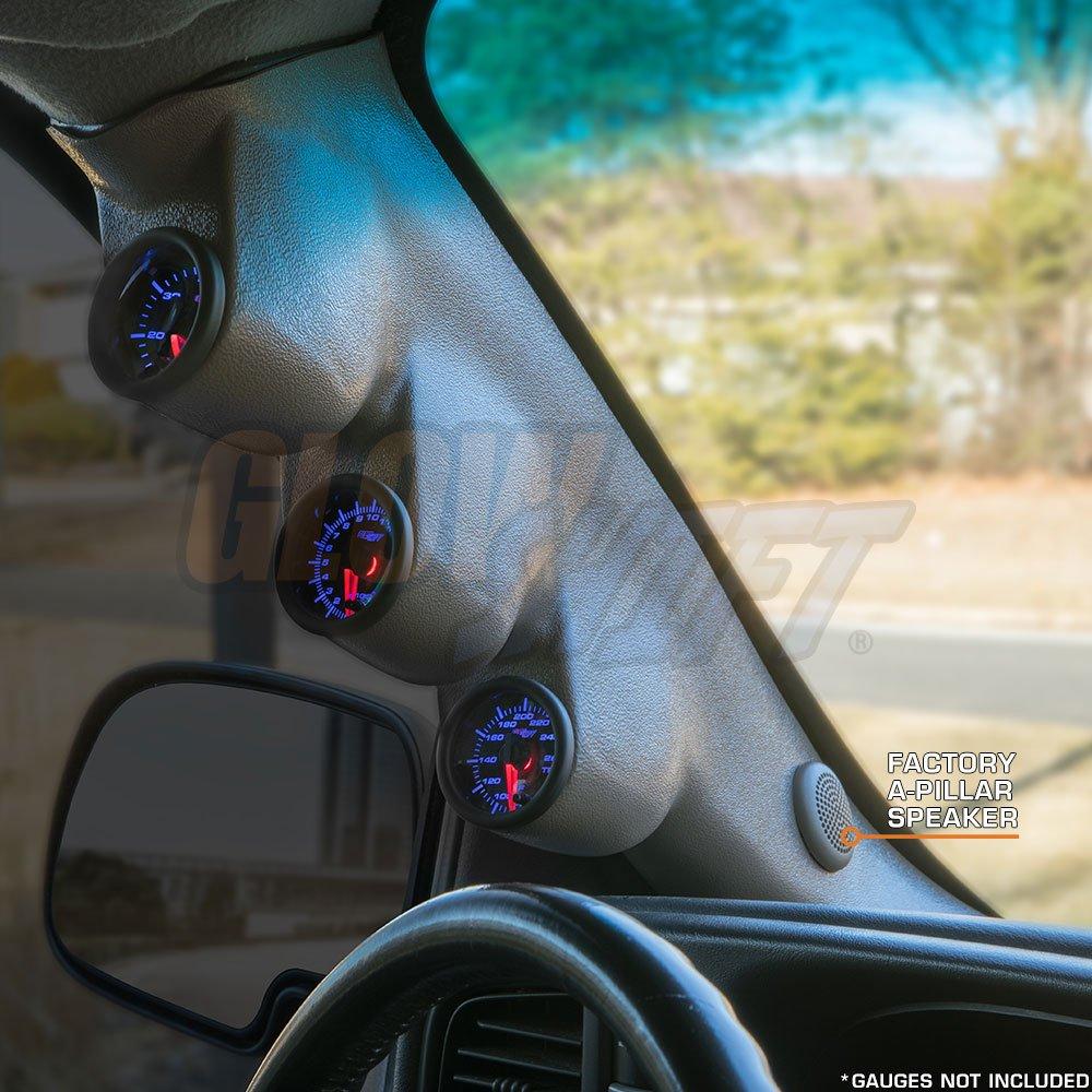 Mounts GlowShift Gray Triple Pillar Gauge Pod for 2000-2006 Chevrolet Chevy Silverado Duramax 2-1//16 Gauges to Trucks A-Pillar 52mm A-Pillar Speaker Cutout 3 Factory Color Matched