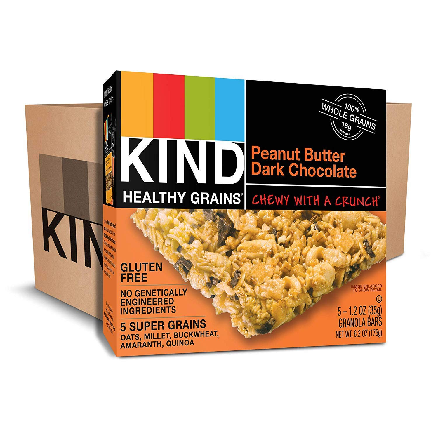 KIND Healthy Grains Bars, Peanut Butter Dark Chocolate, Non GMO, Gluten Free, 1.2 oz, 5 Count (30 Boxes) by KIND (Image #1)