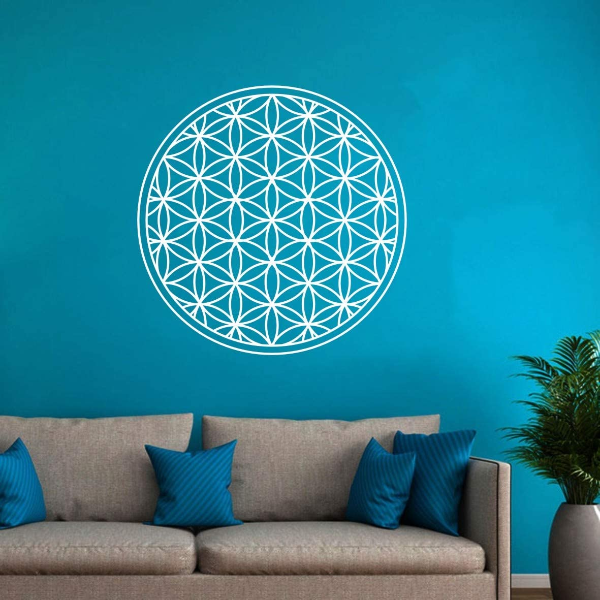 Removable Geometric Round Flower of Life Tree Life Wall Decor Sticker Art Vinyl Bedroom Living Room Wall Decal FD026 (White, 22X22INCH)