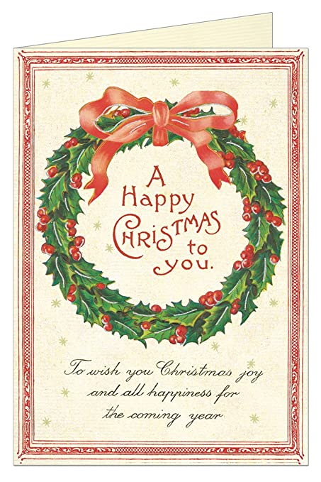 Amazon Com Happy Christmas Wreath Greeting Card With Envelope