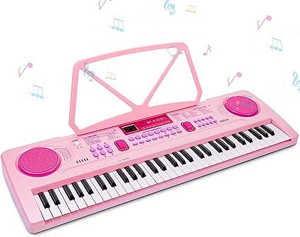 RenFox Teclado Electrónico Piano 61 Teclas, Keyboard Piano Portátil USB Piano Digital con Micrófono, Musical Digital Piano para Principiantes o ...