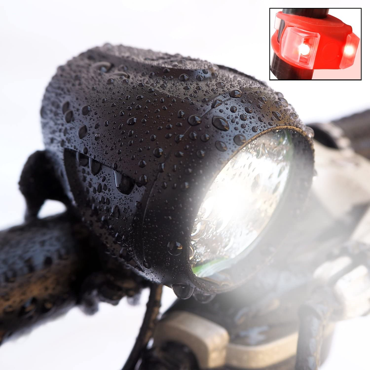 Bright Eyes Newly Upgraded and Fully Waterproof 1200 Lumen Rechargeable Mountain, Road Bike Headlight, 6400mAh Battery Now 5 Hours on Bright Beam . Free Diffuser Lens TAILLIGHT