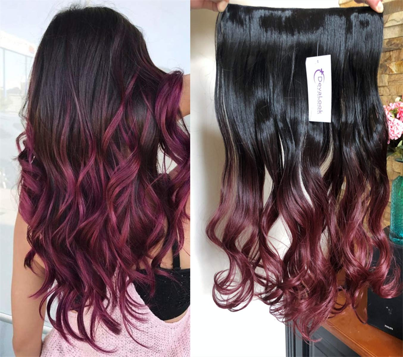 3/4 Full Head Clip in Hair Extensions Ombre
