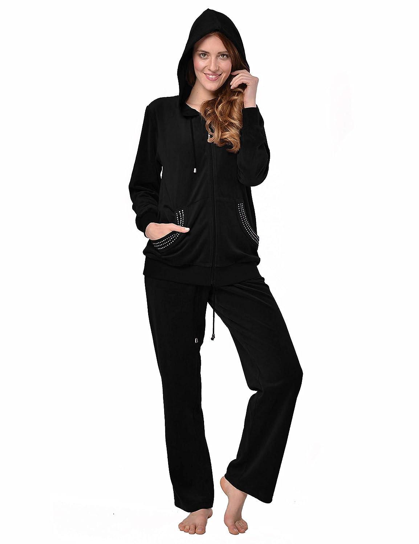 Raikou Damen Micro Velours Freizeitanzug Hausanzug mit Rei/ßverschluss Nicki-Anzug Zweiteiliger Schlafanzug mit Strasssteinen