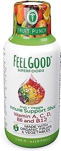 Immune Support Shots | Fruit Punch Flavor | 10 Pack | 26 Organic Fruits & Veggies | 1000mg Vitamin C | Vitamins A, B6, B12 & D | Gluten Free, Non-GMO & Vegan Friendly | by Feelgood Superfoods