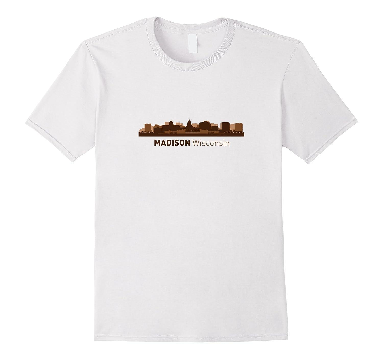 Madison WI City Skyline  Wisconsin Hometown Pride T-shirt-CD