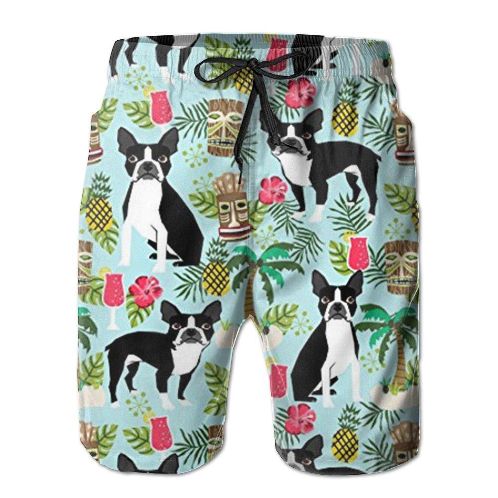 Palm Trees Summer Holiday Mens Beach Pants,Shorts Beach Shorts Swim Trunks WANGERSH2 New Boston Terrier