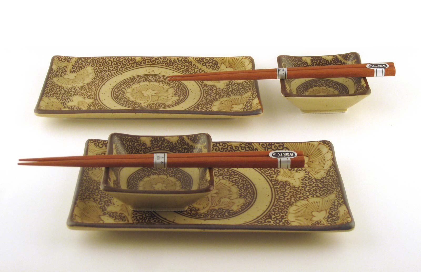 Japanese Sushi Tray Set for Two with Chopsticks, Sepia Gingko