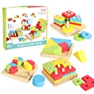 WISHTIME Stack & Learn Geometric Educational Toys Toy 4 in 1 Wooden Shape Color Sorting Puzzles Preschool Stacking Block Toddler Toys