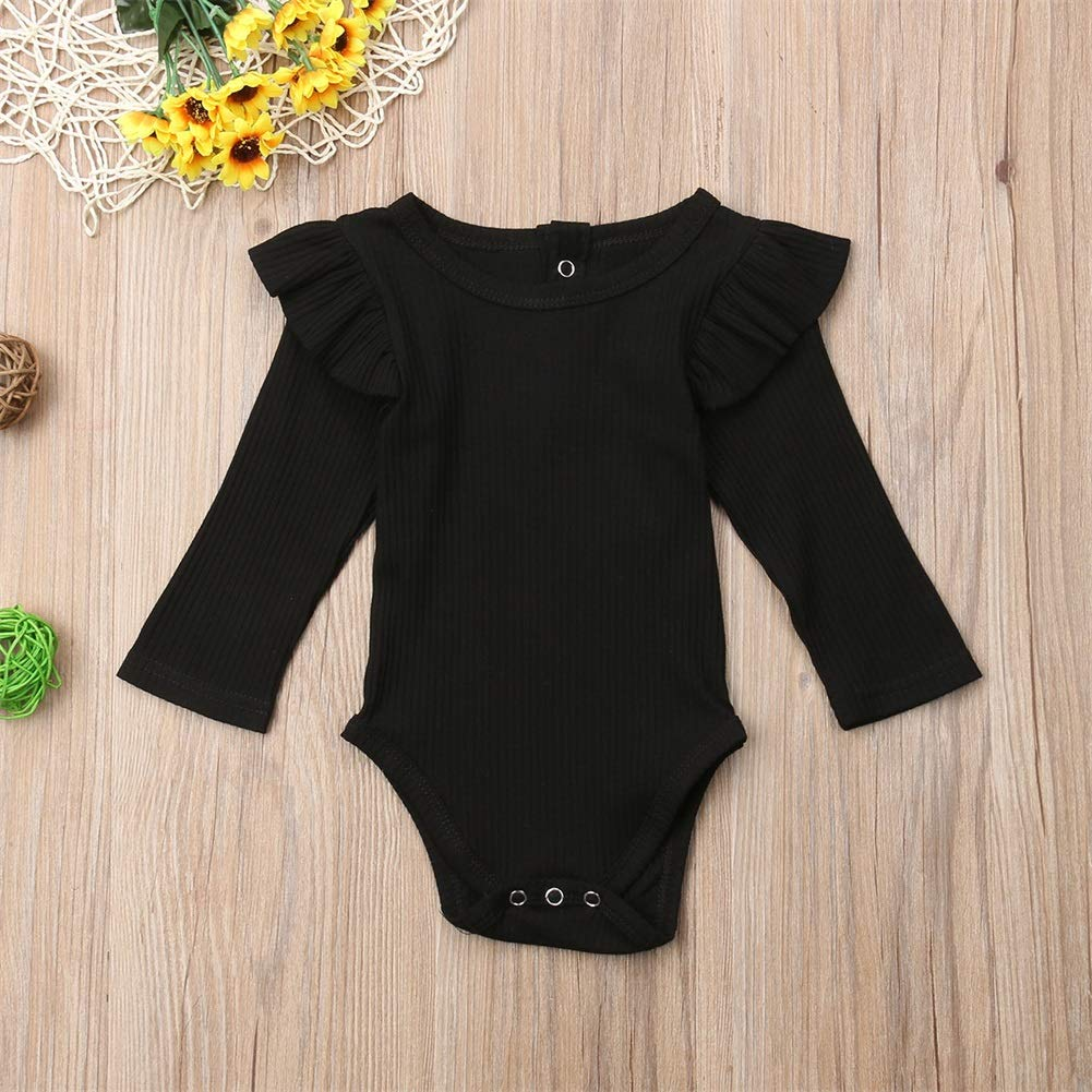 Unisex Baby Boy Girl Long Sleeve Ruffle Romper Bodysuit Jumpsuit Tops Sweatshirt Winter Fall Spring Clothes