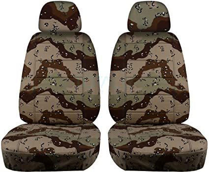 Camouflage Car Seat Covers W 2 Separate Headrest Desert Storm Camo