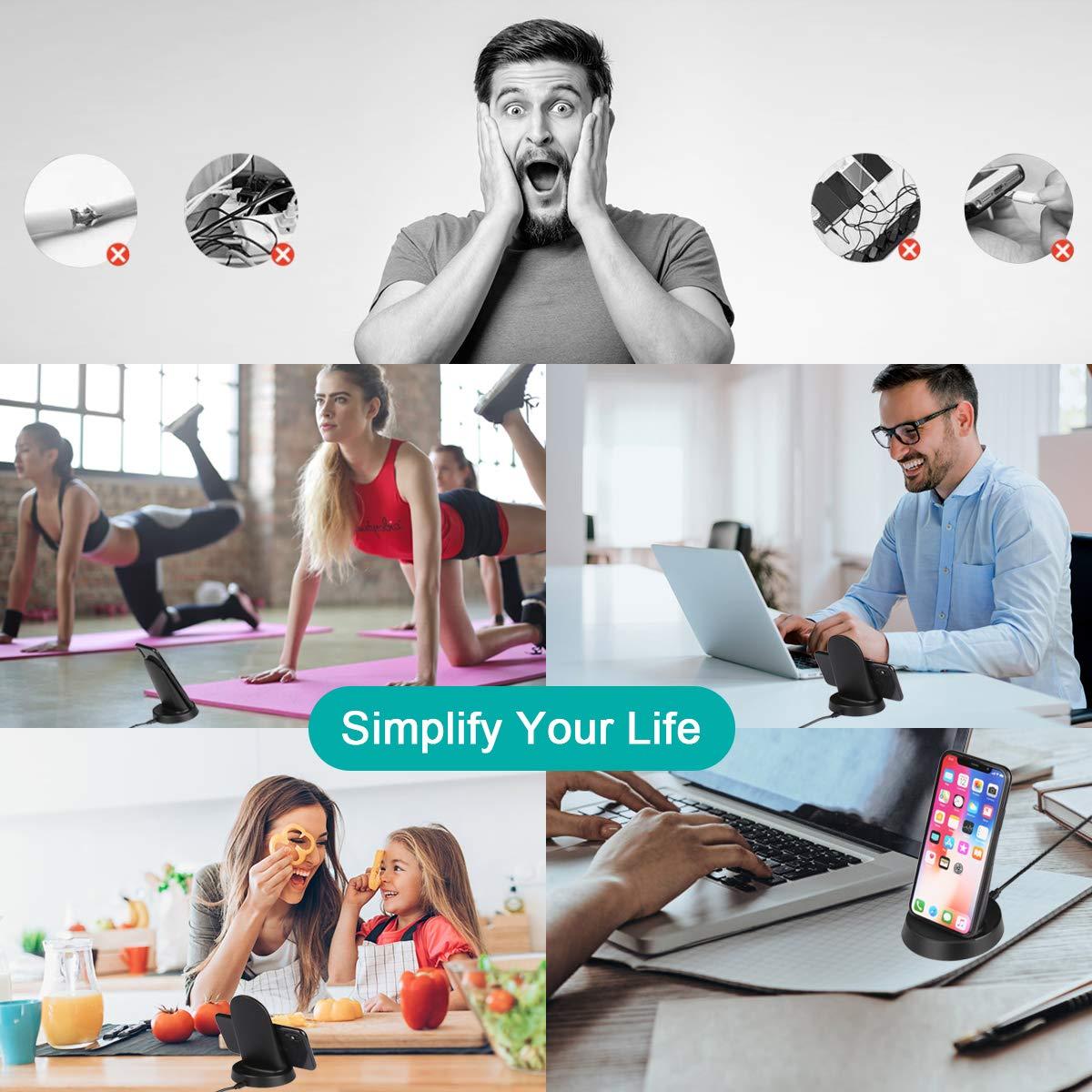 Kdely Cargador Inal/ámbrico etc Cargador Inal/ámbrico R/ápido 10W y Est/ándar 7.5W para iPhone XS//XS MAX//XR//X// 8 Plus//8 e Samsung Galaxy S11 S10 S9 S8 Plus S8 S7 Note8