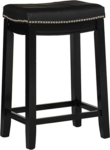 Linon Claridge 26 Backless Wood Counter Stool, Multiple Colors 2 Pack Black 32 Backless