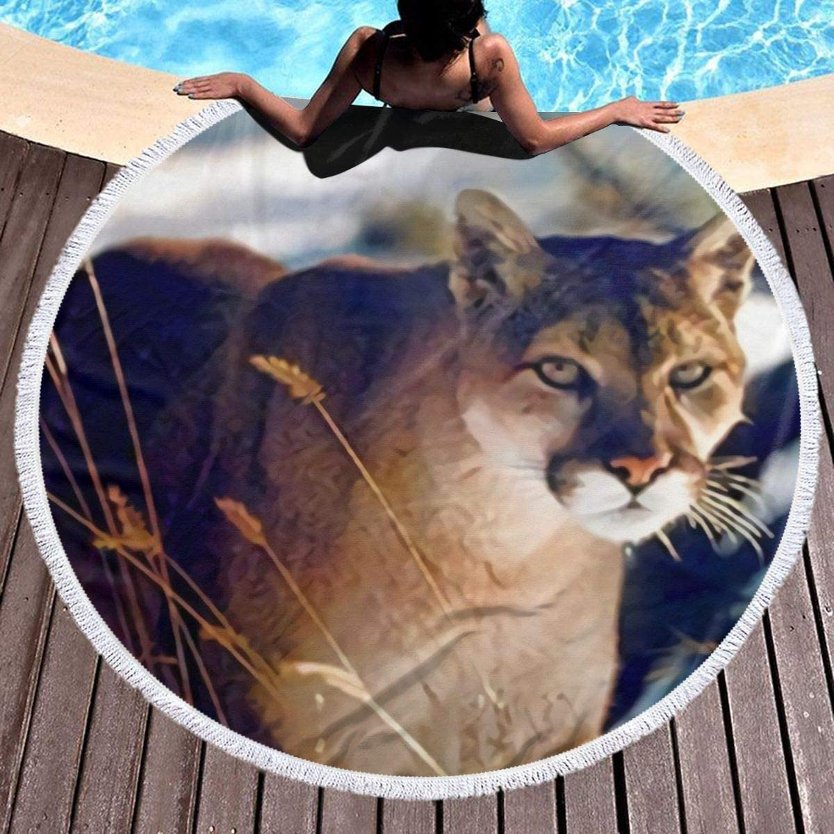 Wild Cougar in Snow Wildlife Mountain 59 Inch Microfiber Round Beach Towel Round Beach Towel Blanket with Tassels Picnic Carpet Yoga Mat