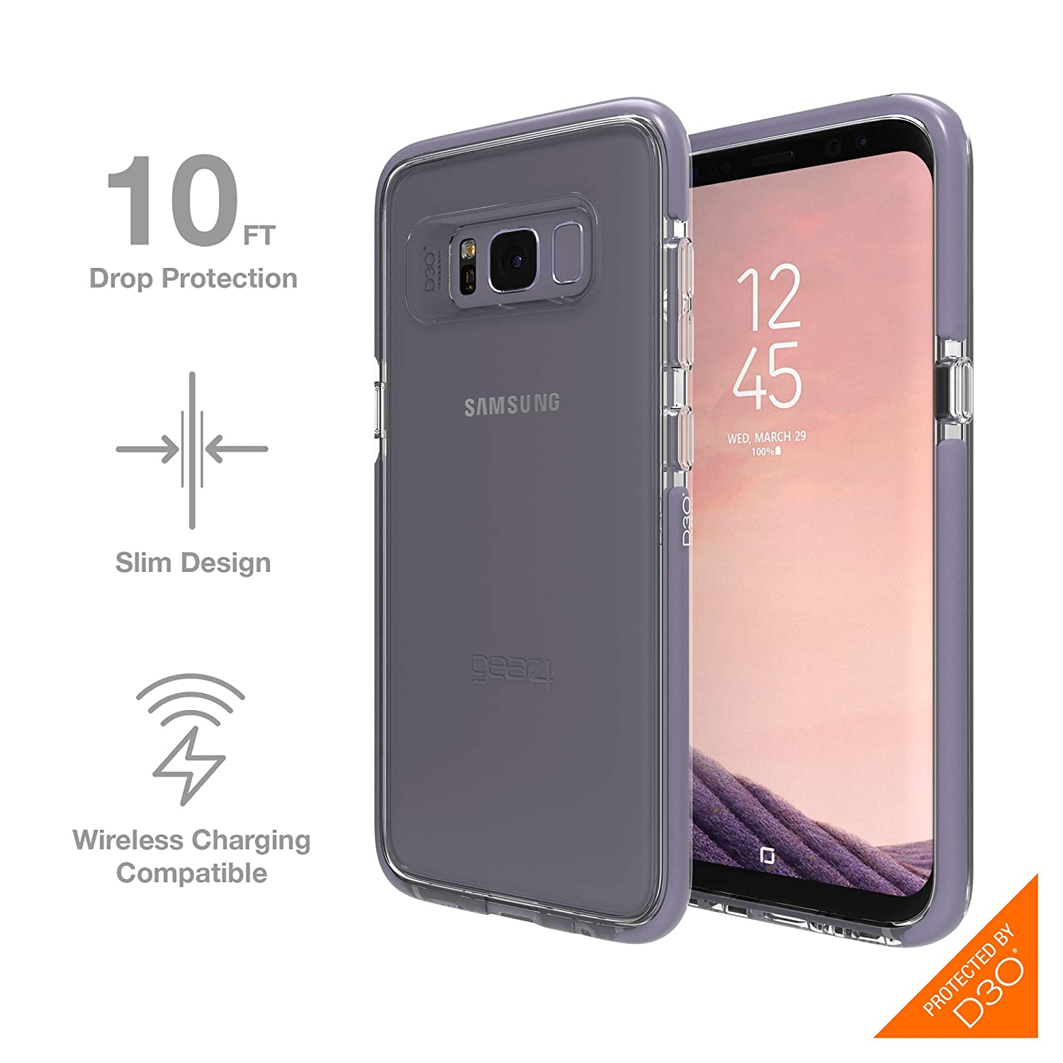 size 40 3fe77 aae4d Gear4 SGS8081D3 Piccadilly Case for Samsung Galaxy S8 with D30 Impact  Protection - Orchid Grey