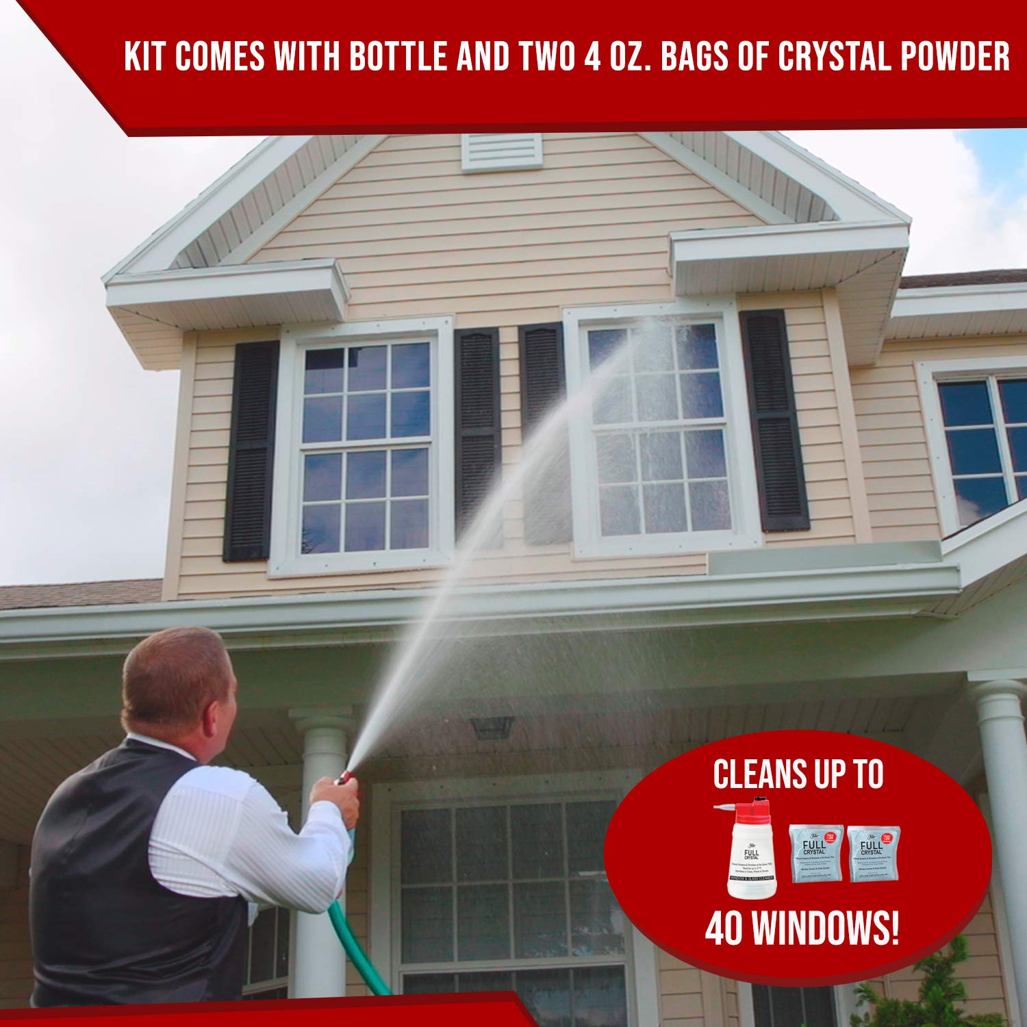 Full Crystal Kit - Bottle, Lid with Hose Attachment, and Two 4 oz. Crystal Powder Exterior Window Cleaner Packets for Glass and Screens (Cleans Up to 40 Windows) by Full Crystal (Image #2)
