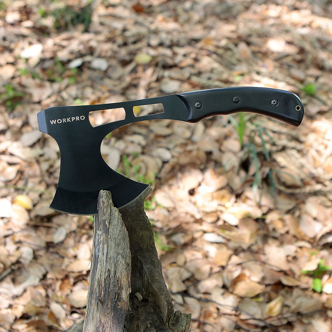 WORKPRO Axe and Fixed Blade Knife Combo Set Full Tang Wood Handle for Outdoor Camping Survival Hunting, Nylon Sheath Included by WORKPRO (Image #7)