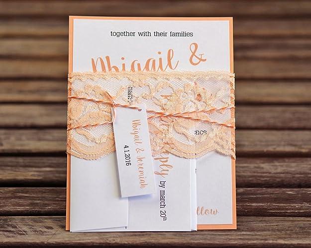 amazon com lace wedding invitations peach wedding invitations