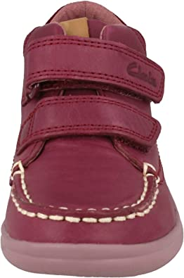 G /& H Fitting Girls Clarks Cloud Mist Fst Leather Casual Moccasin Ankle Boots F