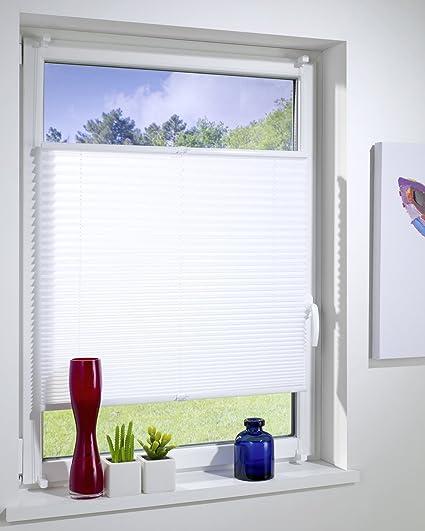 Blanc Hauteur Totale Maximum Volet Ouvrant avec Support de Serrage//Fixe Sans Per/çage 80 cm x 130 cm Contrevent/ée DecoProfi PL01075130 Pliss/ée