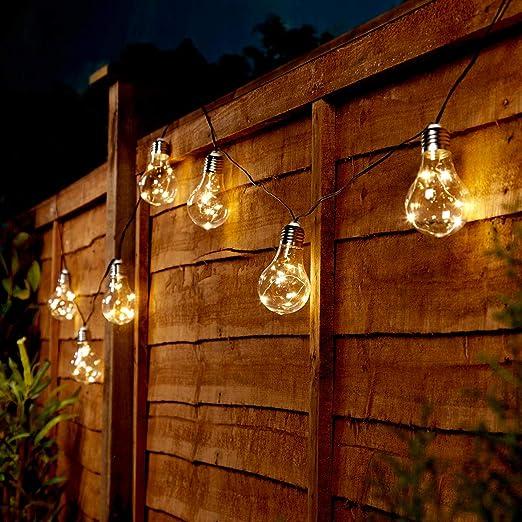 Tira de bombillas LED de Festive Lights, para exteriores, funcionan con energía solar,