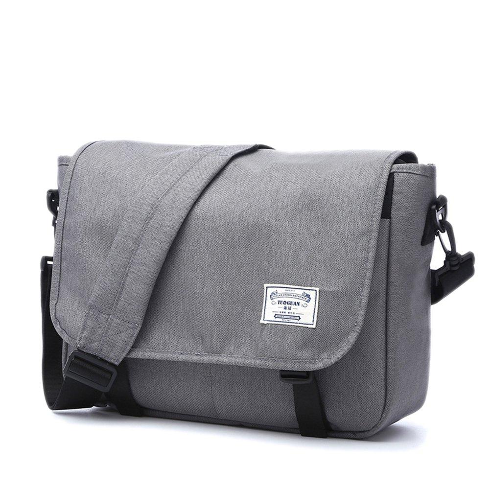 LYCSIX66 Classic Laptop Messenger Bag Water Resistant Canvas School Satchel Shoulder Bags Fits MacBook Pro 13 13.3 Inch Notebook Computer gray