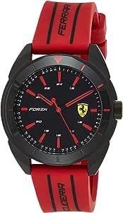 Ferrari Mens Quartz Watch, Analog Display and Silicone Strap 830544