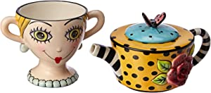 Appletree Design Lady Lux Tea for One Set, Teapot Rests on Top of Tea Cup, 8-Inch