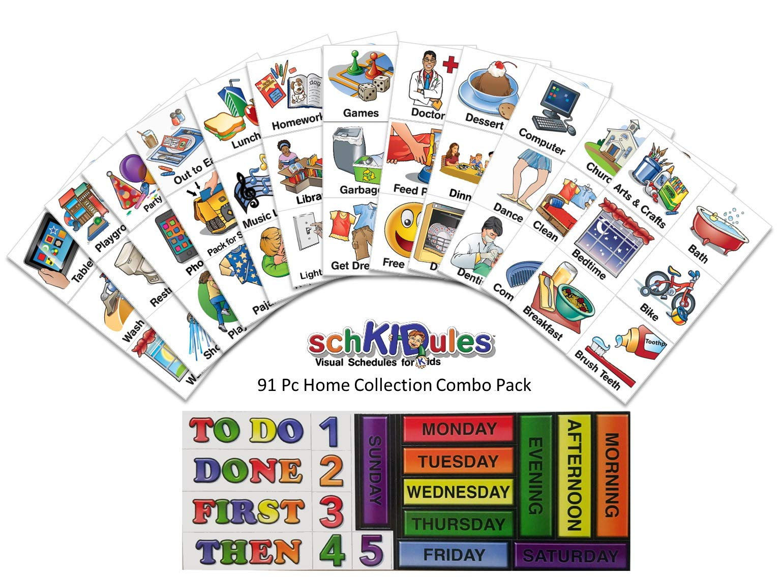 SchKIDules 91 Pc Home Collection Combo Pack for Visual Schedules, Kids Calendars and Behavior Charts: 72 Home-Themed Activity Magnets PLUS 19 Headings Magnets (2nd Ed)