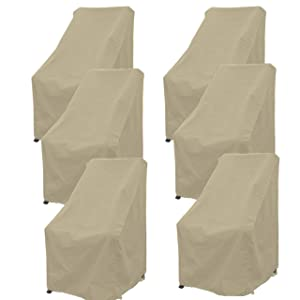 """Premium Tight Weave Patio Hi Back Chair Covers set of 6 with securing device up to 42"""" H in Taupe"""