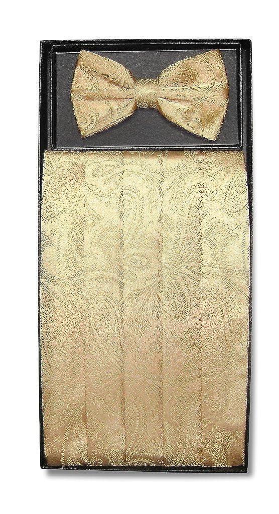 NEW in box 100/% polyester paisley Cummerbund /& bowtie set formal wedding Gold