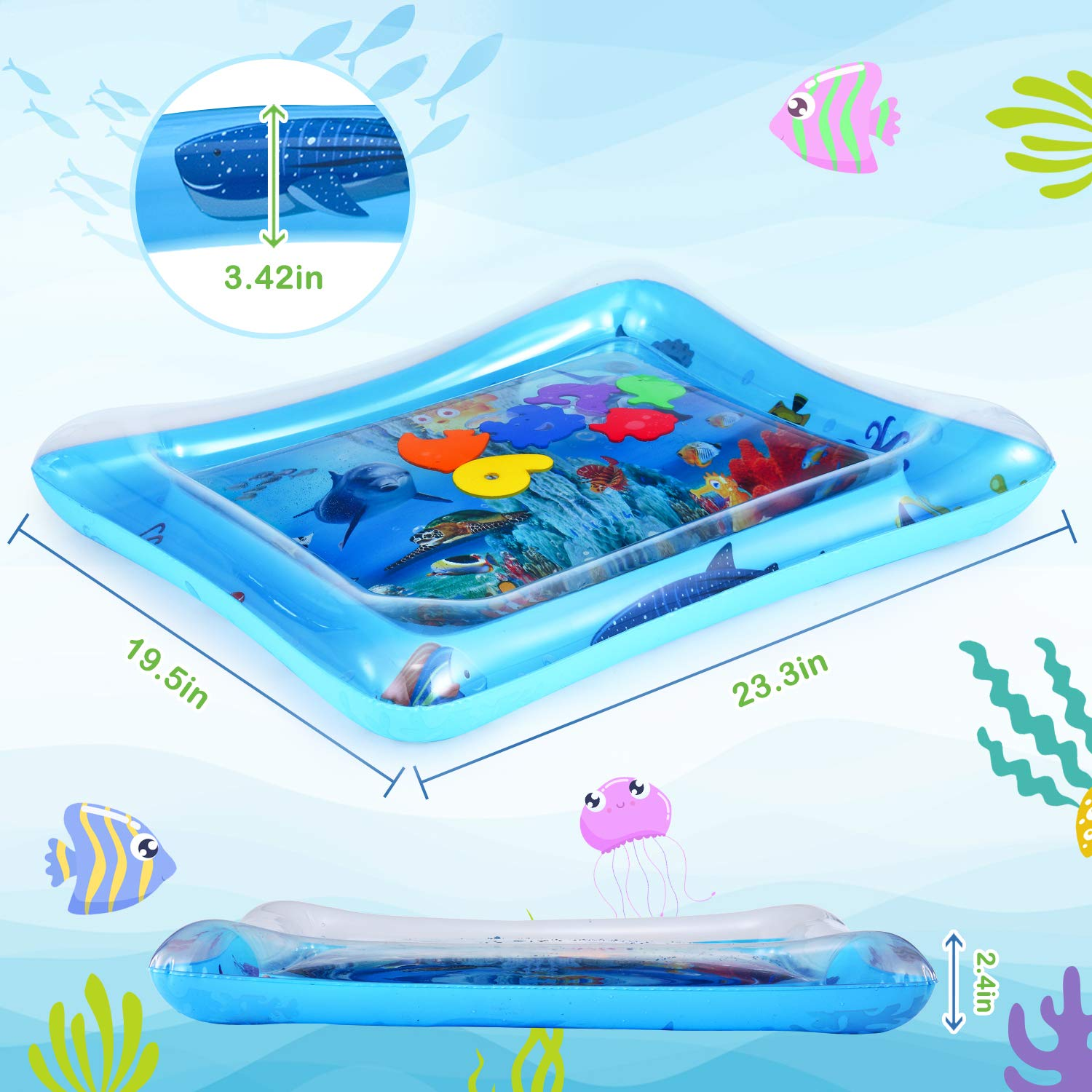 LUKAT Baby Water Play Mat Tummy Time Inflatable Mat for 3//6//9 Month Infants /& Toddlers Sensory Toy Activity Center Early Development BPA Free