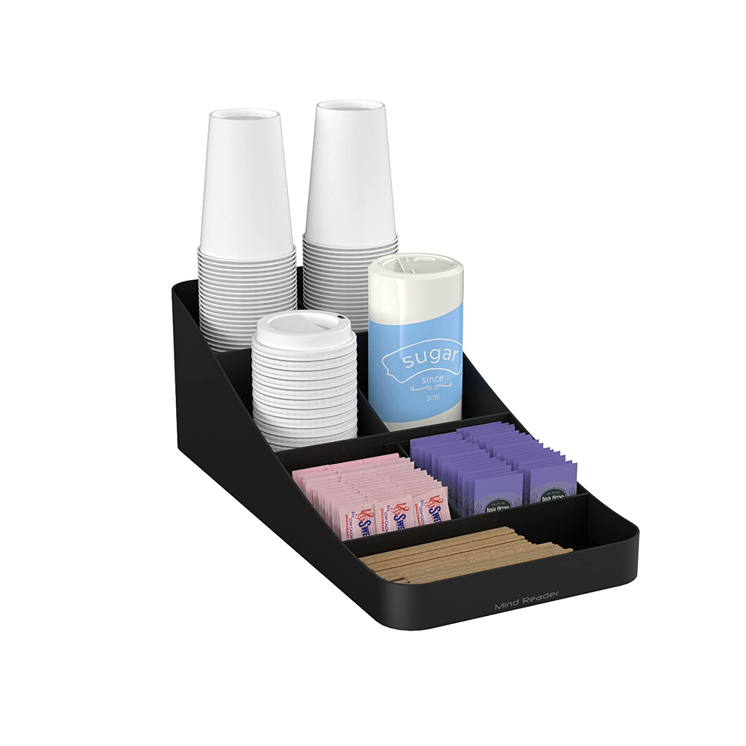 Mind Reader COMP7-BLK 7 Compartment Coffee Condiment, Cups, Lids, Sugars, and Stirrers,Storage Organizer, Black