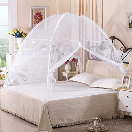 Amazon.com Goplus Folding Mosquito Net Portable Pop up Tent Mesh Canopy Curtains with Bottom for Bed Home Bedroom Outdoor C&ing White Home u0026 Kitchen & Amazon.com: Goplus Folding Mosquito Net Portable Pop up Tent Mesh ...